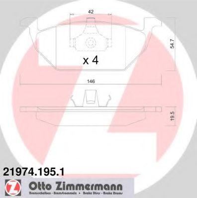 Гальмівні колодки перед Audi A3/Seat Leon/Skoda Fa ZIMMERMANN 219741951