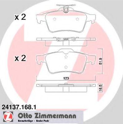 Гальмівні колодки зад Vectra C/Mazda3/Ford Focus/C ZIMMERMANN 241371681