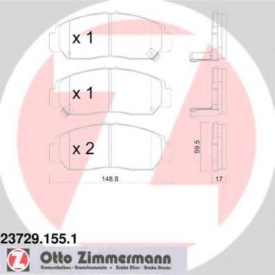 Гальмівні колодки перед Honda Civic c 2006г/Stream ZIMMERMANN 237291551