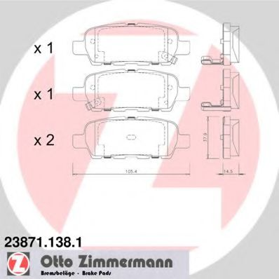 Гальмівні колодки зад Nissan Murano/Quashqai/X-tra ZIMMERMANN 238711381
