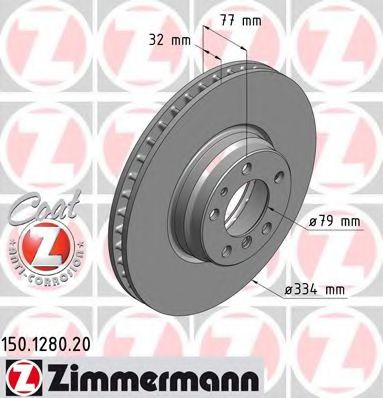 передний вентел. Е38 (740i,750i) (334x32) ZIMMERMANN 150128020