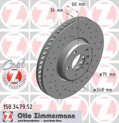 Диск гальмівний перед. правий BMW 5 (F07, F10, F11, F18), 6 (F12, F13, F06), 7 (F01, F02, F03, F04) 3.0/3.5/4.0D 09-  ZIMMERMANN 150347952