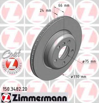 Диск гальмівний передній BMW 5 E60-63 04-  ZIMMERMANN 150348220