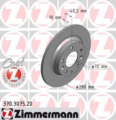Диск гальмівний задн. Mazda 6 1.8I 16V 07- ZIMMERMANN 370307520