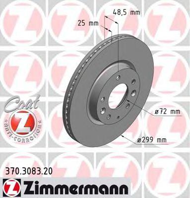 Диск гальмівний перед MAZDA 6 07- Coat Z ZIMMERMANN 370308320