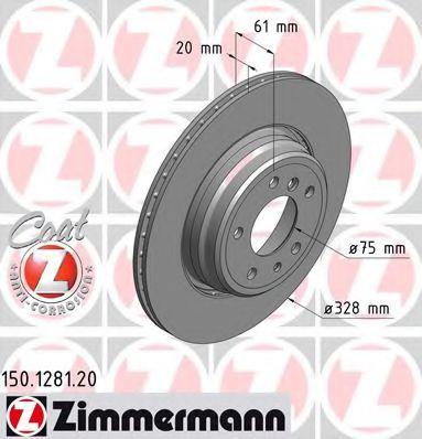 задний вентел. Е38 750i, 740d (328x20) ZIMMERMANN 150128120