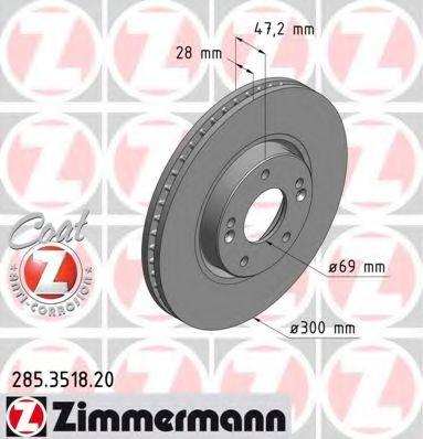 Гальмівний диск перед вент Hyundai Sonata NF/Tucso  арт. 285351820