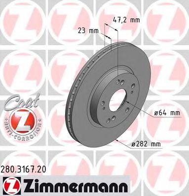 Диск гальмівний Honda CR-V до 2006г, FR-V, Stream ZIMMERMANN 280316720