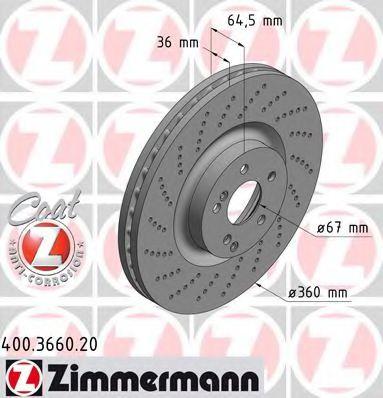 Гальмiвнi диски ZIMMERMANN 400366020