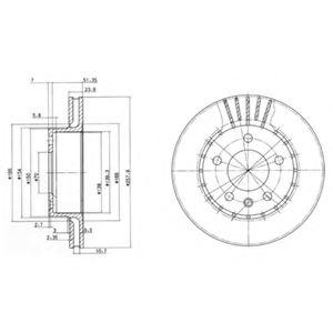 DELPHI OPEL Диск тормозной передн. Omega A DELPHI BG2384
