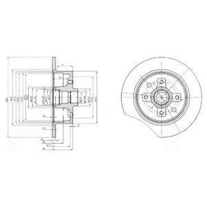 DELPHI OPEL Диск тормозной задний Kadett E,Vectra A 2.0 87- DELPHI BG2571