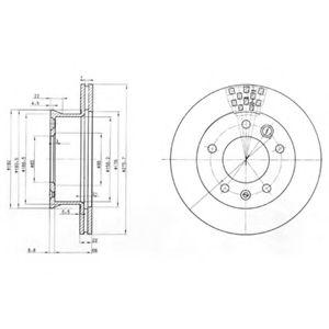 DELPHI DB Диск тормозной перед. (вентил.) Sprinter, VW LT28-46 96- DELPHI BG3236