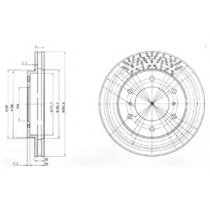 DELPHI MITSUBISHI Тормозной диск передн.вент.Pajero 00- DELPHI BG3812
