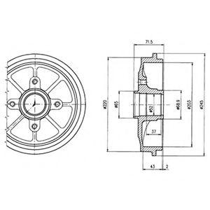 DELPHI CITROEN Тормозной барабан с ступицей C2,C3,Peugeot 1007 02- DELPHI BF484