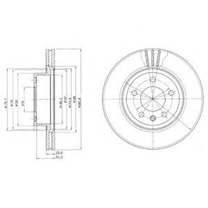 DELPHI OPEL Диск тормозной вентилируемый передний Omega B 2,0 94- DELPHI BG2908