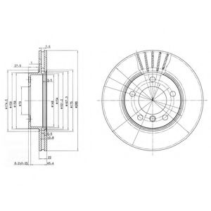 DELPHI BMW Диск тормозной перед. (вентил.) E36/46 1,6-2,8 (286*22) DELPHI BG2623C