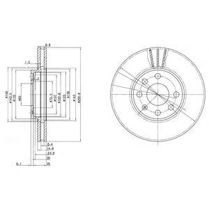 DELPHI OPEL Диск тормозной вент. передний лакиров.! Astra F,G 95- DELPHI BG3404C