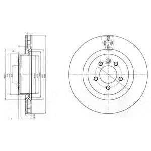 DELPHI LANDROVER Диск тормозной передн.лакиров.! Range Rover Sport 05- DELPHI BG9007C