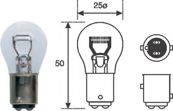 Лампа накаливания P21/5W 12V BAY15d (пр-во Magneti Marelli) в интернет магазине www.partlider.com